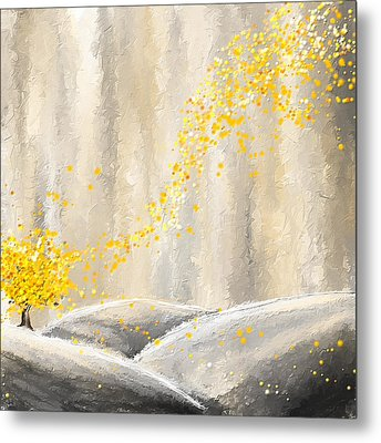 Yellow And Gray Landscape Metal Print by Lourry Legarde