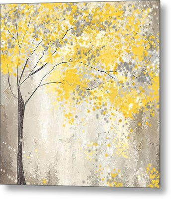 Yellow And Gray Tree Metal Print