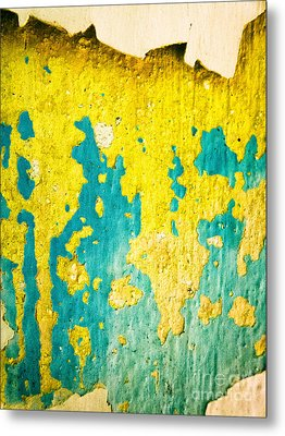 Metal Print featuring the photograph Yellow And Green Abstract Wall by Silvia Ganora
