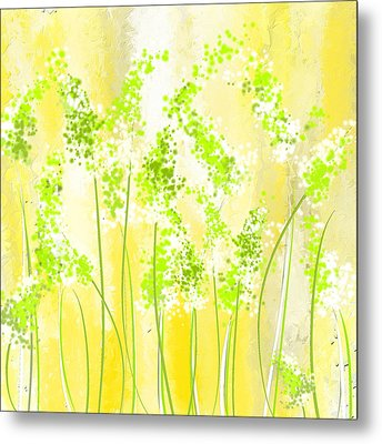 Yellow And Green Art Metal Print by Lourry Legarde