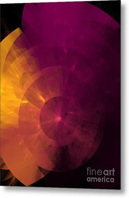 Yellow And Purple Umbrella Top Abstract  Metal Print by Andee Design