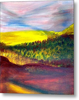 Yellow And Red Landscape Metal Print by Michaela Kraemer