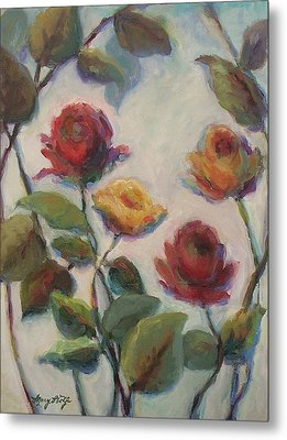 Yellow And Red Roses  Metal Print