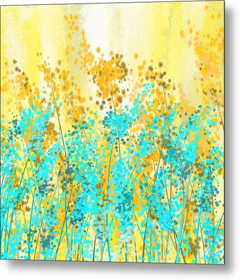Yellow And Turquoise Garden Metal Print