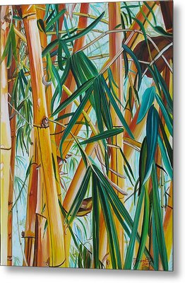Metal Print featuring the painting Yellow Bamboo by Marionette Taboniar