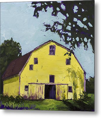 Yellow Barn Metal Print by Kristin Whitney
