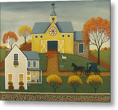 Yellow Barn Metal Print by Mary Charles