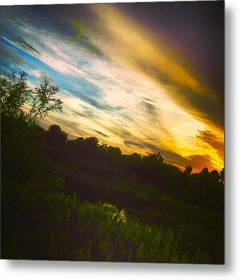 Yellow Blue And Green Metal Print