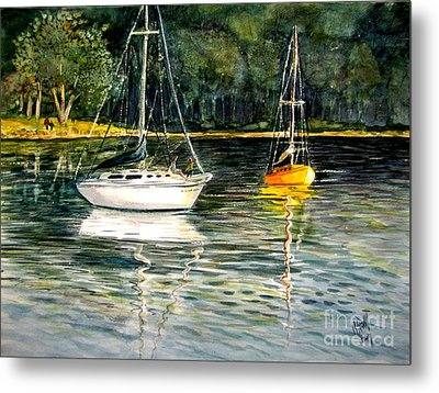 Yellow Boat Sister Bay Metal Print by Marilyn Smith
