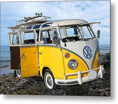 Yellow Bus At The Beach Metal Print
