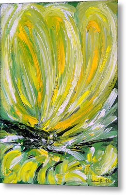 Metal Print featuring the painting Yellow Butterfly by Jasna Dragun