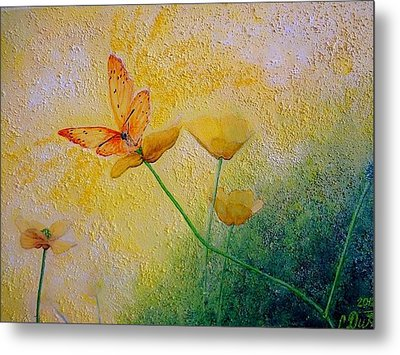 Yellow Butterfly Metal Print by Svetla Dimitrova