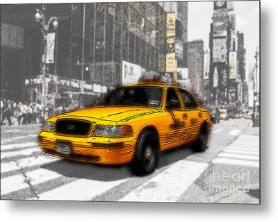 Yellow Cab At The Times Square -comic Metal Print by Hannes Cmarits