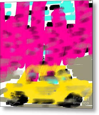 Yellow Cab Big City Metal Print by James Eye