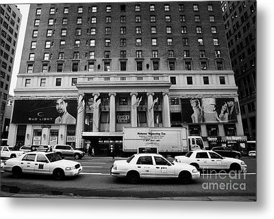 Yellow Cabs Go Past Pennsylvania Hotel On 7th Avenue New York City Usa Metal Print by Joe Fox