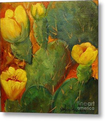 Yellow Cacti Metal Print