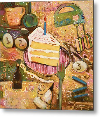 Yellow Cake Recipe Metal Print by Jen Norton
