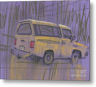 Metal Print featuring the painting Yellow Camper by Donald Maier