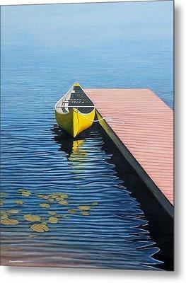Yellow Canoe Metal Print by Kenneth M  Kirsch