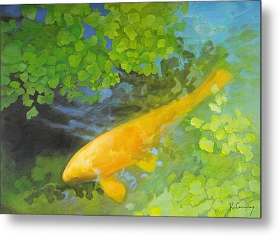 Yellow Carp In Green Metal Print by Robert Conway