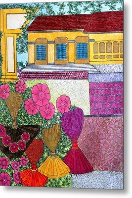 Yellow Casa Pink Flors Metal Print