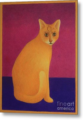 Metal Print featuring the painting Yellow Cat by Pamela Clements