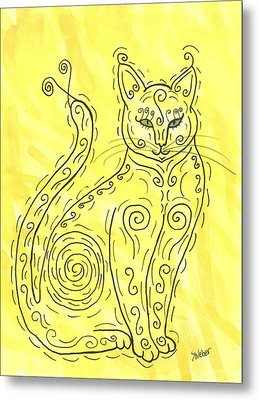 Metal Print featuring the painting Yellow Cat Squiggle by Susie Weber