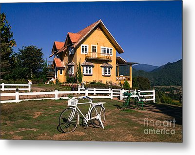 Yellow Classic House On Hill Metal Print by Tosporn Preede