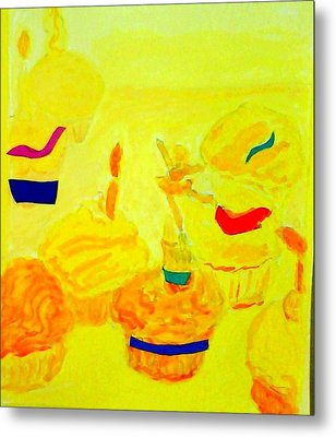 Yellow Cupcakes Metal Print by Suzanne Berthier