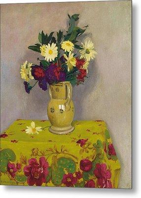 Yellow Daisies And Various Flowers Metal Print by Felix Edouard Vallotton