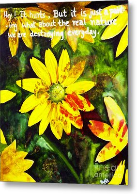 Metal Print featuring the painting Yellow Daisies by Mukta Gupta
