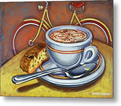 Metal Print featuring the painting Yellow Dutch Bicycle With Cappuccino And Biscotti by Mark Howard Jones