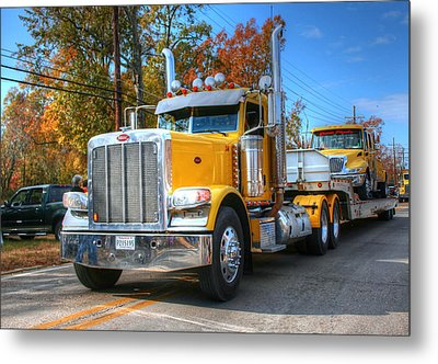 Yellow Eighteen-wheelers Metal Print by Ester  Rogers