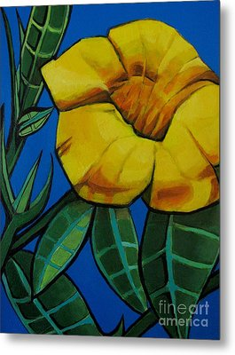 Yellow Elder - Flower Botanical Metal Print by Grace Liberator