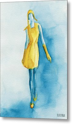 Yellow Ensemble - Watercolor Fashion Illustration Metal Print by Beverly Brown
