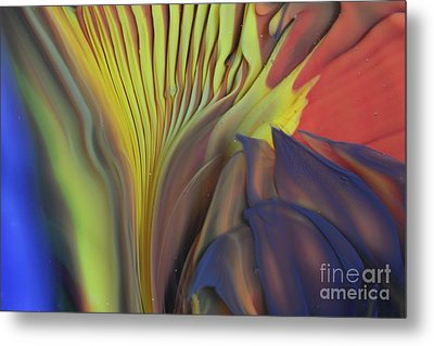 Yellow Fan And Flower Metal Print by Kimberly Lyon