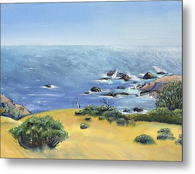 Metal Print featuring the painting Yellow Fields And Silvery Summer Sea by Asha Carolyn Young