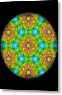 Yellow Flower Mandala Metal Print by Karen Buford