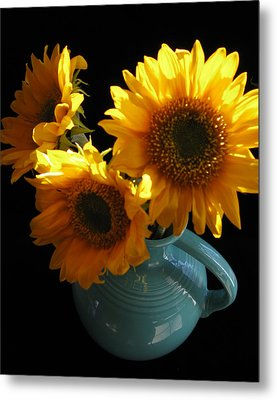 Yellow Flowers In Fiesta Pitcher Metal Print by Patricia Januszkiewicz