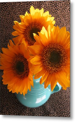 Yellow Flowers In Fiesta Ware Metal Print by Patricia Januszkiewicz