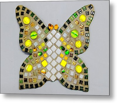 Yellow Flutterby Metal Print by Lisa Brandel