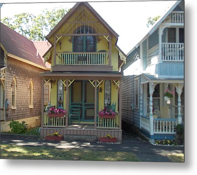 Yellow Gingerbread House Metal Print by Catherine Gagne