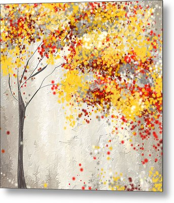 Yellow Gray And Red Metal Print by Lourry Legarde