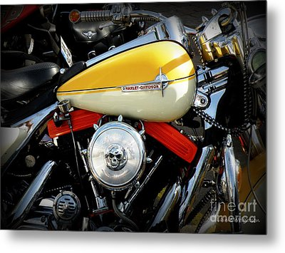 Yellow Harley Metal Print by Lainie Wrightson