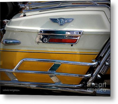 Yellow Harley Saddlebags Metal Print by Lainie Wrightson