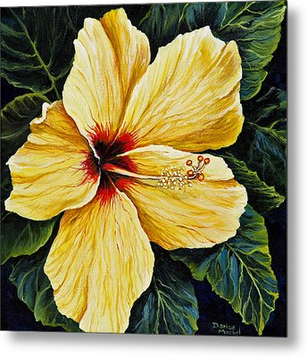 Yellow Hibiscus Metal Print by Darice Machel McGuire
