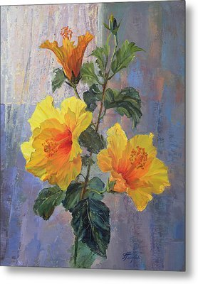 Yellow Hibiscus Flower Metal Print