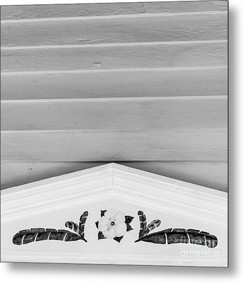 Yellow Hibiscus Wall Detail Key West - Square - Black And White Metal Print