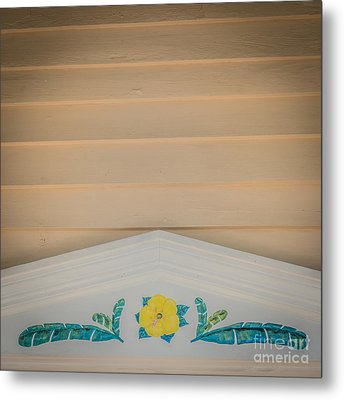 Yellow Hibiscus Wall Detail Key West - Square - Hdr Style Metal Print