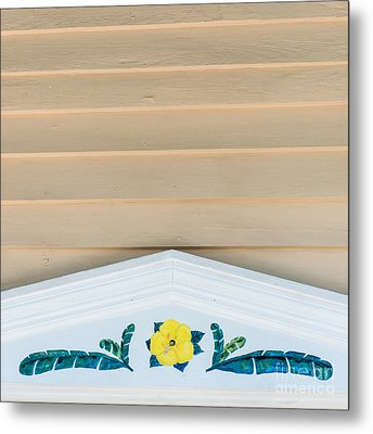 Yellow Hibiscus Wall Detail Key West - Square  Metal Print